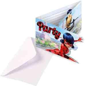 8 invitations et enveloppes Miraculous