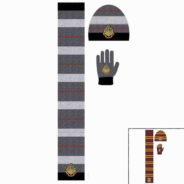 Ensemble bonnet, gants, écharpe Harry Potter
