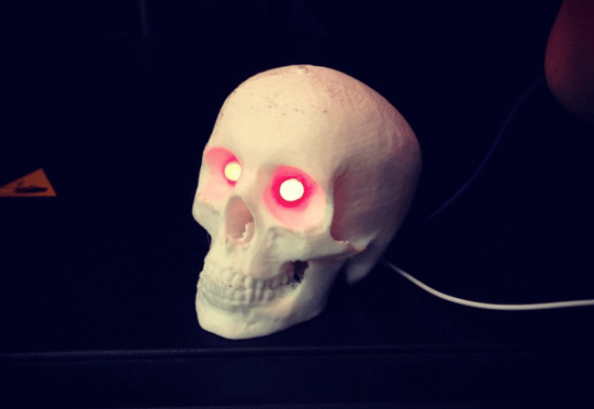 3-d printed LED glow skull for Halloween