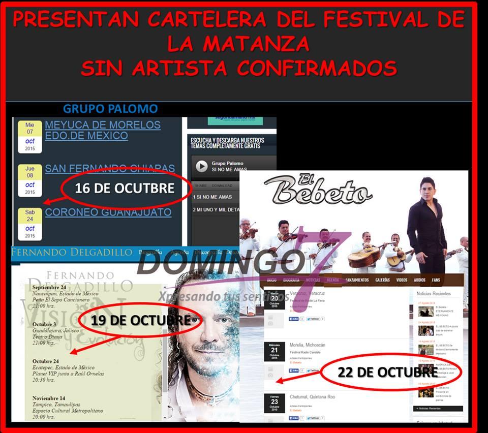 PRESENTAN FESTIVAL DE LA MATANZA SIN ARTISTAS CONFIRMADOS Por: Nidya Hernández