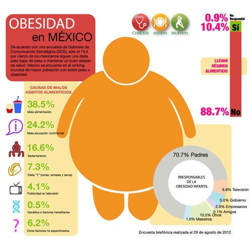 MÉXICO PADECE OBESIDAD DEL 28% EN ADULTOS