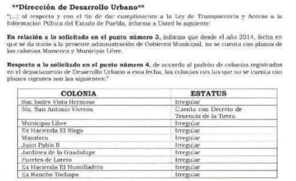Obra publica en colonias irregulares
