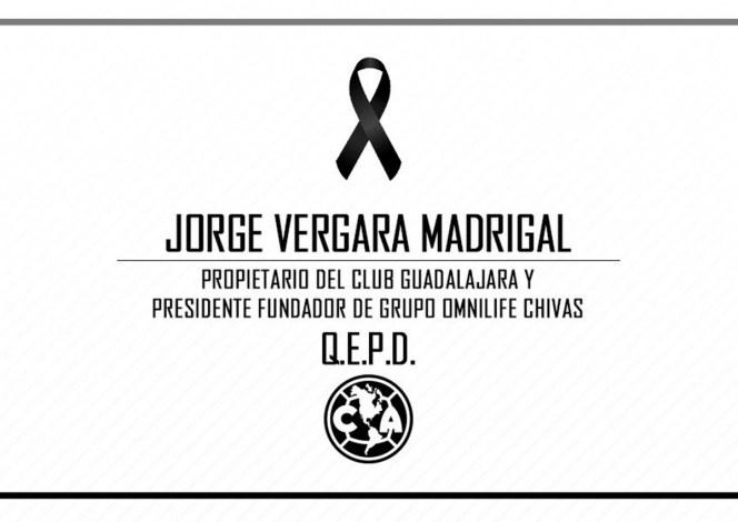 CLUB AMÉRICA LAMENTA LA MUERTE DE JORGE VERGARA