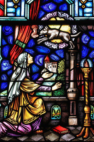 """""""Vision of Blessed Joanna"""" Stained Glass Window from St. Dominic's Church in Washington, D.C. Photo: Fr. Lawrence Lew, O.P."""