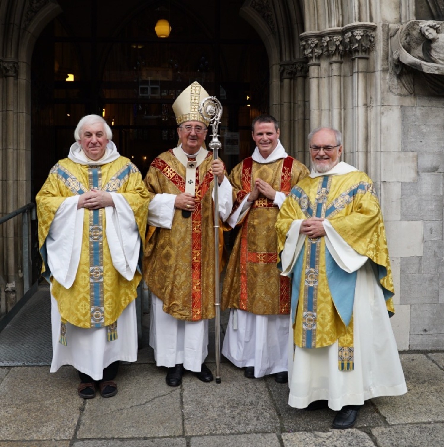 Bro Philip Mulryne OP with Archbishop Dairmuid Martin, provincial Fr. Gregory Carroll OP and the prior of St. Saviour's Fr. Eddie Conway OP