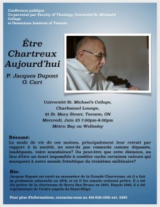 """This blue poster, written in French, promoted a lecture by Fr. Jacques Dupont called """"Being Carthusian Today."""" It contains Dupont's abstract, his biography and his picture."""