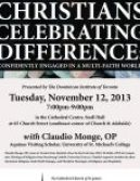 """This poster promoted a presentation by Claudio Monge, OP at The Cathedral Church of St. James in Toronto. It was entitled """"Christians Celebrating Difference: Confidently Engaged in a Multi-Faith World."""""""