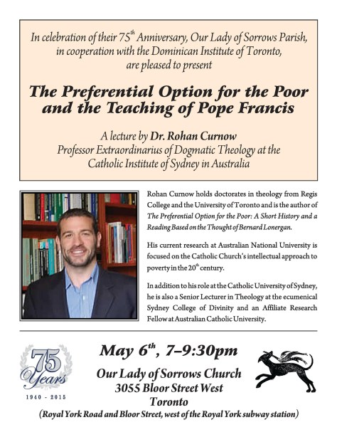 Poster promotes a lecture by Dr Rohan Curnow entitled The Preferential Option for the Poor and the Teaching of Pope Francis