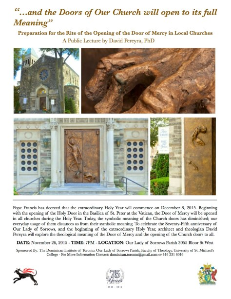 This poster promotes architect and theologian David Pereyra's talk on the theological meaning of the Door of Mercy.