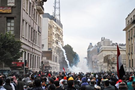 Egypt's Ministry of Interior fired tear gas in Tahrir square in 2012. Photo by Ali Mustafa, CC license 4.0 BY-ND-NC
