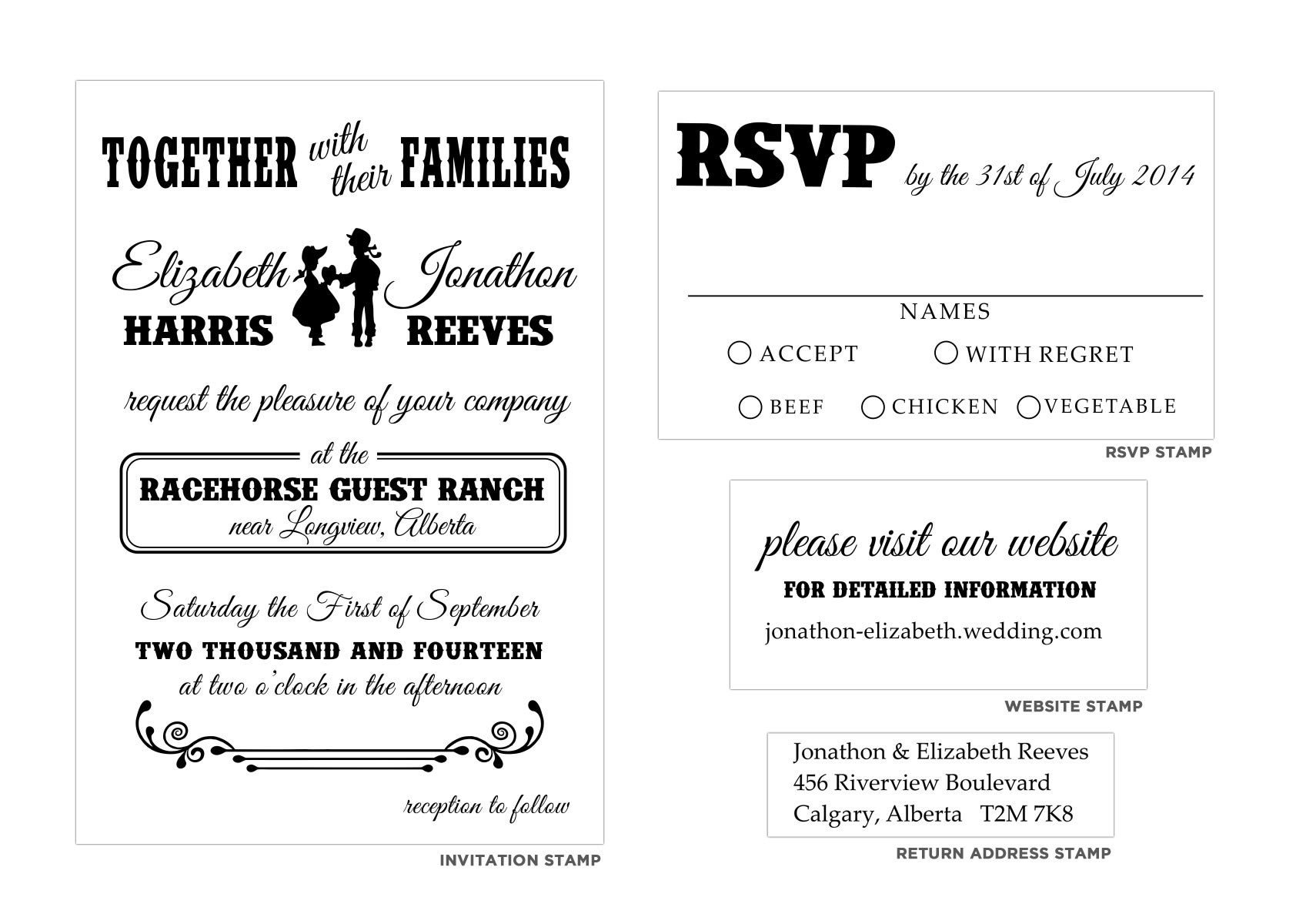 Vintage Invitation Stamp Set