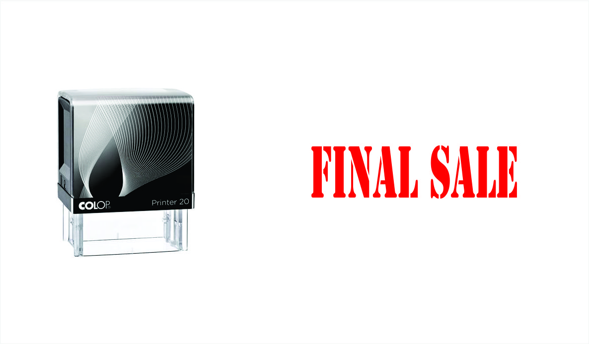 Final Sale Stock Phrase Stamp  Dominion Rubber Stamps
