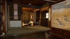Intérieur d'un temple, Kyoto.