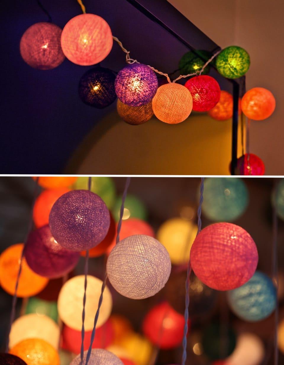 Гирленд көп түсті шарлардан әдемі, стильді және романтикалық көрінеді