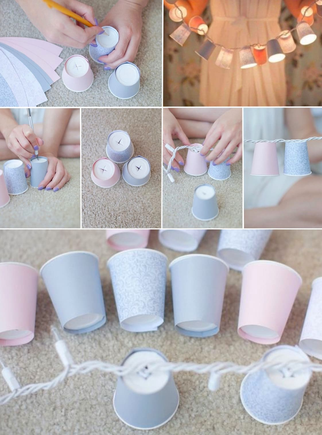 Workshop on making a garland from paper cups