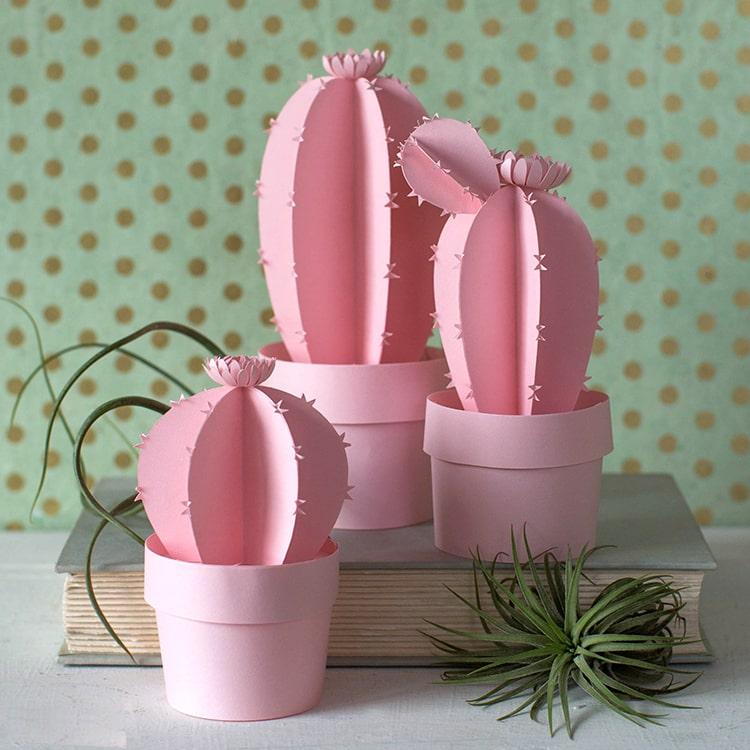 Нежный кактус из розовой бумаги