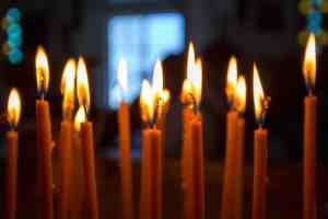 Burning candles in a orthodox church