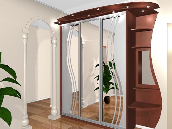 Шкафы-купе с отделкой из ротанга и бамбука