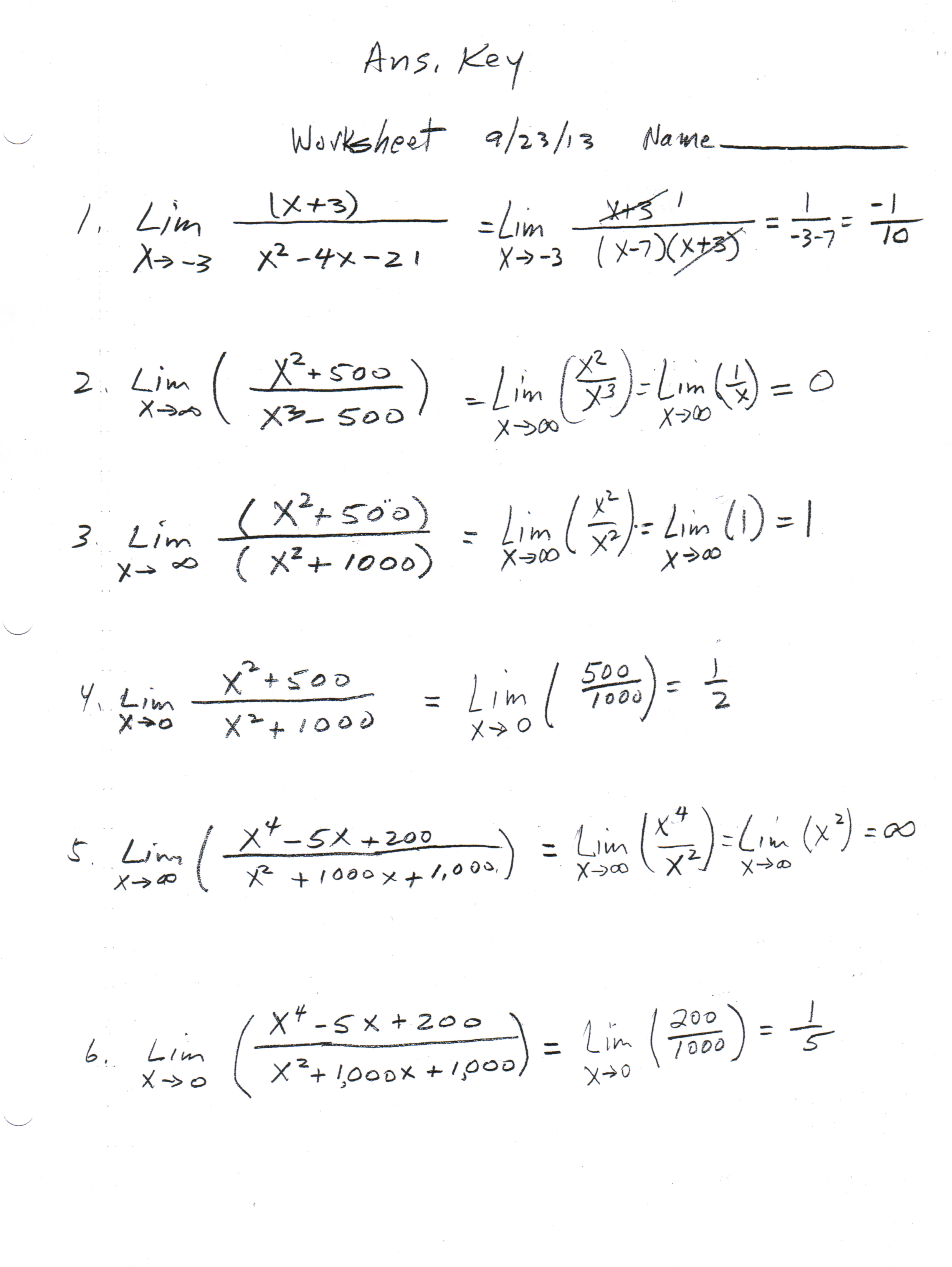 Limits Calculus Worksheet