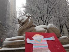 Stanley in the snow with the iconic lions!