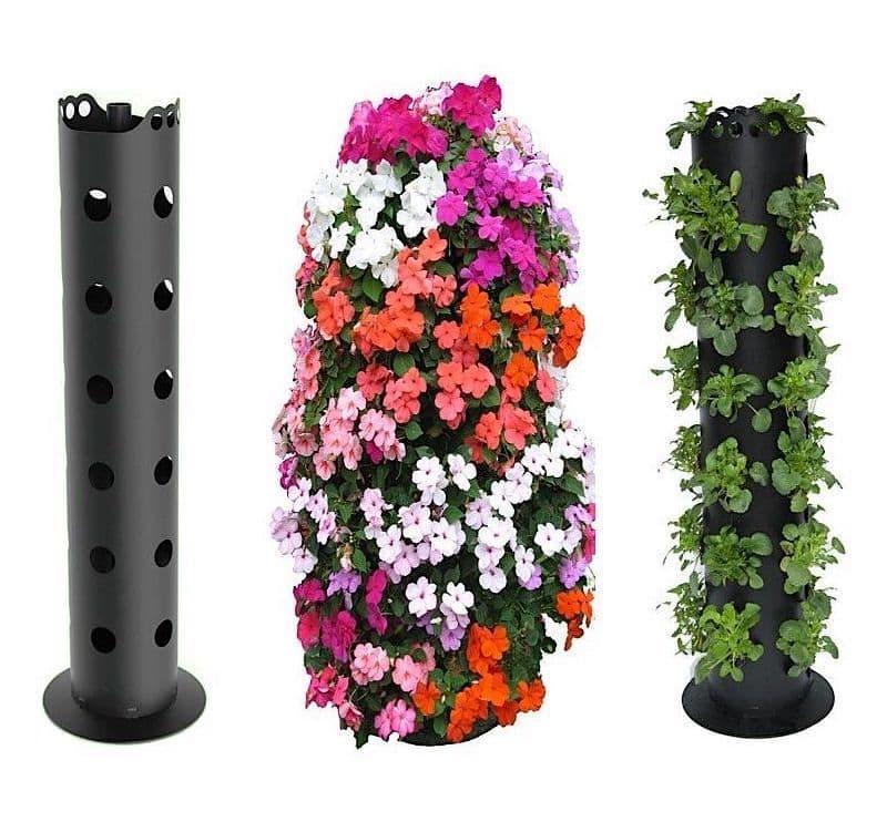 Основание для вертикальной клумбы можно купить в специализированном магазине или сделать самостоятельно, используя для этого подручный материал
