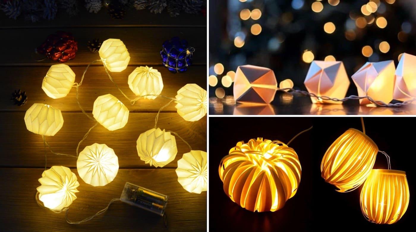 Электрическая гирлянда с объёмными бумажными фонариками поможет создать волшебную атмосферу нового года