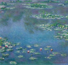 Impressionist painting of green water lilies, purple and blue reflection Water Lilies, 1906 Claude Monet