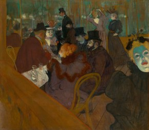 People sit in a bar. A woman's face eerily lit green, stares at viewer. At the Moulin Rouge, 1892/95 Henri de Toulouse-Lautrec
