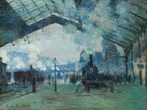Impressionist painting of steam engine in glass roof station, blue, green hues Arrival of the Normandy Train, Gare Saint-Lazare, 1877 Claude Monet