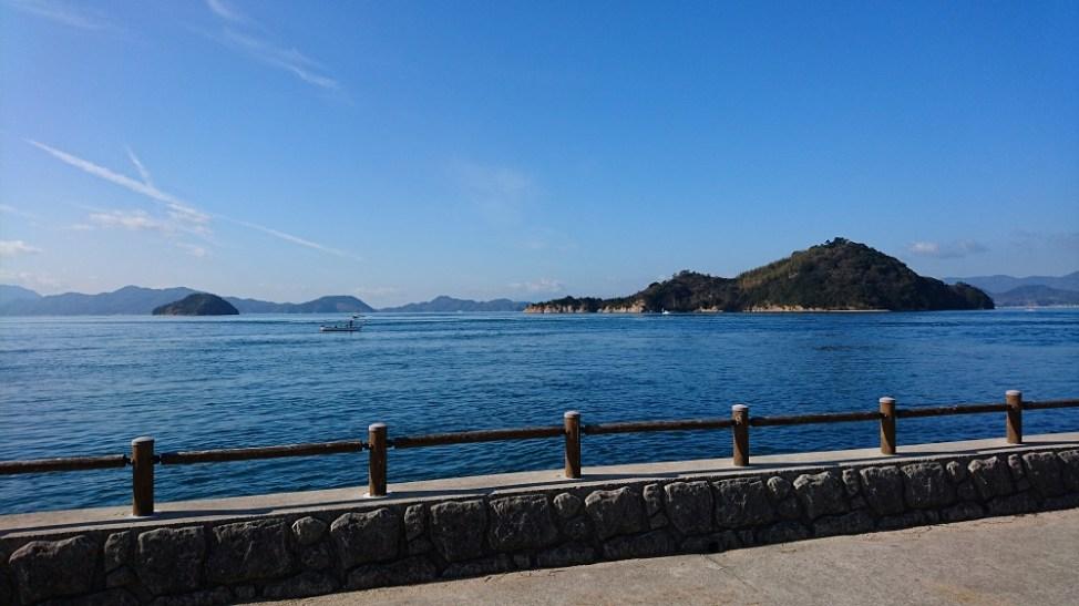 大久野島から見た小久野島(右)