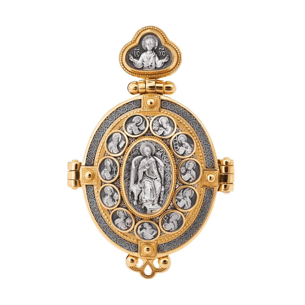 Diptych icon pendant PRAISE BE TO THE MOTHER OF GOD THEOTOKOS  Dona Dei