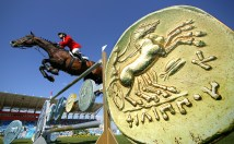 ATHENS - AUGUST 24: Dirk Demeersman of Belgium on Clinton rides in the individual show jumping event on August 24, 2004 during the Athens 2004 Summer Olympic Games at the Markopoulo Olympic Equestrian Centre Jumping Arena in Athens, Greece. (Photo by Donald Miralle/Getty Images)
