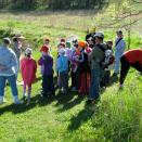 Students learning about pond life.