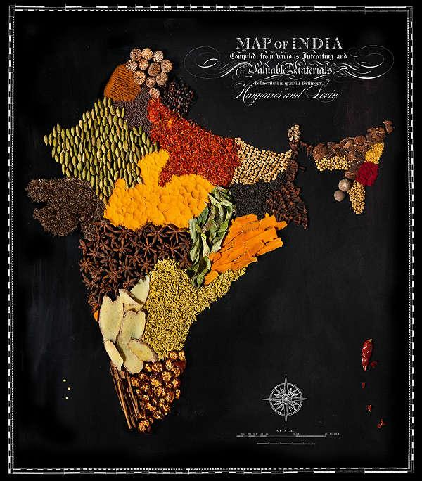 Mapa com Comida Típica de Cada Região Índia