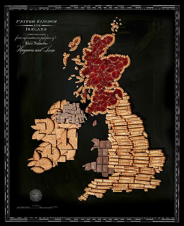 Mapa com Comida Típica de Cada Região Reino Unido