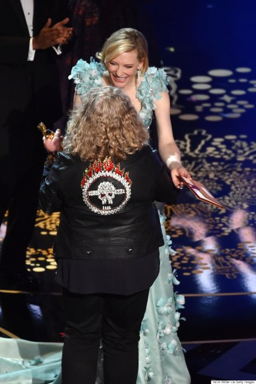 HOLLYWOOD, CA - FEBRUARY 28: Costume designer Jenny Beavan (L) accepts the Best Costume Design award for 'Mad Max: Fury Road' from actress Cate Blanchett onstage during the 88th Annual Academy Awards at the Dolby Theatre on February 28, 2016 in Hollywood, California. (Photo by Kevin Winter/Getty Images)