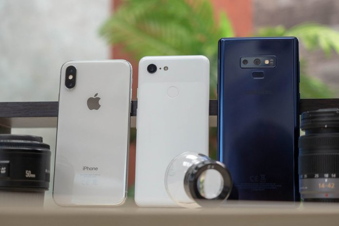 Pixel 3, iPhone XS ve Galaxy Note 9