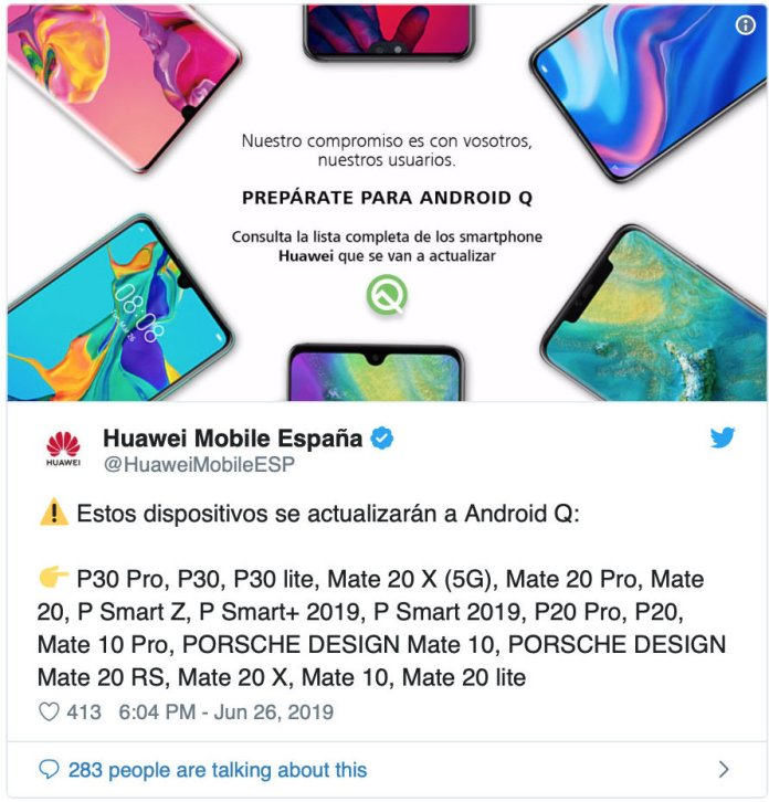 Android Q alacak Huawei