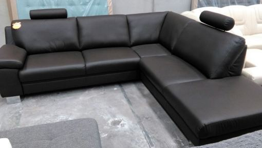 Black Leather Corner Sofa - Business Class