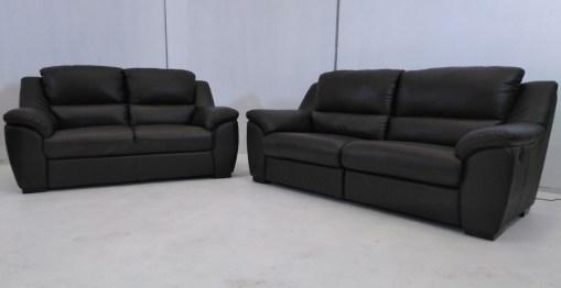Conjunto de sofás relax de piel natural de color marrón- Leon
