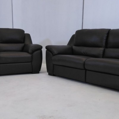 Brown Leather Sofa Set - 3 Seater + 2 Seater - Leon