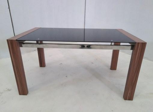Mesa baja en metal, madera y cristal - Tec