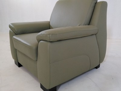 Green Leather Armchair - Mikel