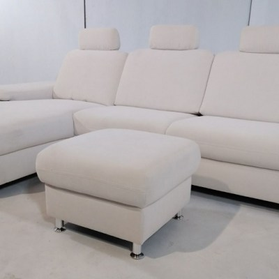 White Fabric Sofa with Chaise Longue and Pouffe - Lucia
