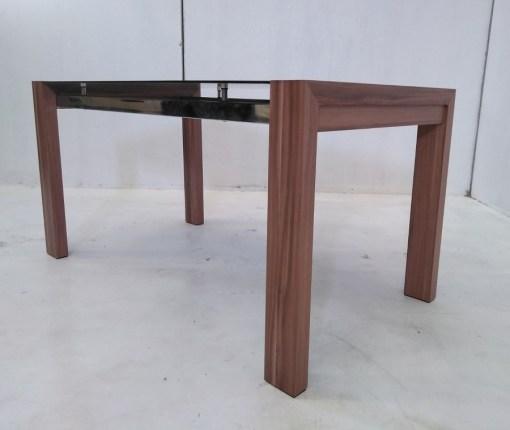 Vista abajo. Mesa baja en metal, madera y cristal - Tec
