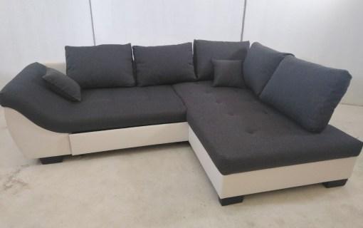 Sofá rinconero de color gris y blanco - Carmen