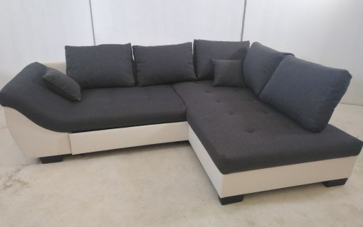 Grey and White Corner Sofa with Pull Out Bed - Carmen