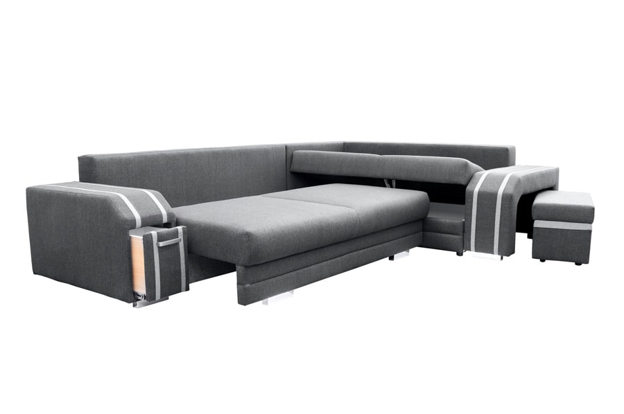 Corner Sofa with Pouffe Pull Out Bed 2 Storage partments