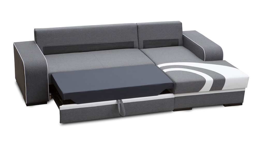 Sof chaise longue cama de color gris oscuro con arc n for Chaise longue sofa cama