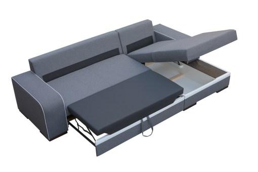Cama y arcón abierto. Sofá chaise longue cama gris con arcón - Bermuda